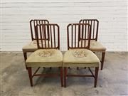 Sale 9068 - Lot 1094 - Set of Four Mahogany Sheraton Style Dining Chairs, the square grilled backs with cantered corners, two alternative patterned floral ta