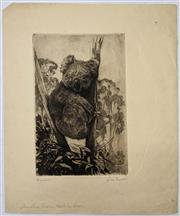 Sale 9082 - Lot 2022 - Squire Morgan Booral (Koala), drypoint etching, 24.5 x 13.5 cm, signed