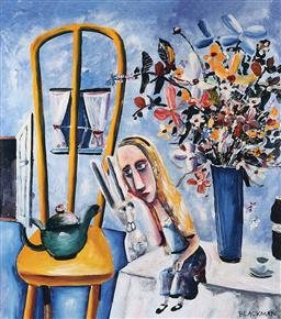 Sale 9174JM - Lot 5084 - CHARLES BLACKMAN (1928 -2019) Alice at the Table archival pigment print, ed. P/P 32.5 x 28.5 cm (frame: 50 x 44 x 2 cm) signed in print