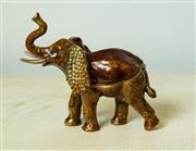 Sale 8420A - Lot 96 - A brass enamelled elephant trinket box with citrine & amber Swarovski crystals, measurements: 10cm high x 11cm wide