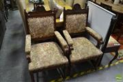 Sale 8489 - Lot 1085 - Pair of Early C20th Timber & Floral Upholstered Armchairs