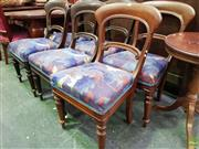 Sale 8617 - Lot 1052 - Near Set of Six Victorian Mahogany Chairs, with blue upholstered seats & turned legs