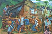 Sale 8730 - Lot 2008 - Artist Unknown (Filipino School) - Villagers Moving Hut 60 x 90cm