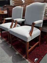 Sale 8740 - Lot 1088 - A Set of 8 Fabric Dining Chairs ins 2 Carvers