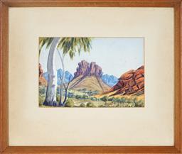 Sale 9101 - Lot 2014A - Adolf Inkamala (1914 - 1960) - Central Australian Landscape 17 x 25 cm (frame: 37 x 43 x 3 cm)