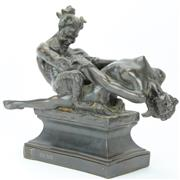 Sale 8390A - Lot 12 - Cast Faun & Nymph Figure Group After Rayner Hoff