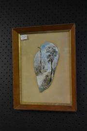 Sale 8448 - Lot 96 - Framed & Handpainted Leaf
