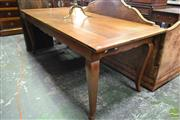 Sale 8500 - Lot 1050 - French Style Cherrywood Dining Table with Breadboard Ends and Cabriole Legs