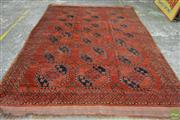 Sale 8576 - Lot 1006 - Antique West Turkestani Ersari Wool Carpet, the diamonds with clovers, in red & blue tones (350 x 240cm)
