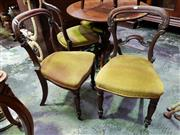 Sale 8653 - Lot 1058A - Set of Four Victorian Rosewood Chairs, with carved balloon backs, gold velvet seats & turned fluted legs (one back damaged)