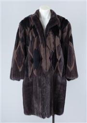 Sale 8828F - Lot 4 - A Saga 3/4 Mink Coat With Stained Glass Window Design By Hammerman Furs, Made In Finland, Size Medium