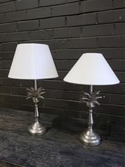 Sale 8962 - Lot 1037 - Pair of Chrome Pineapple Lamps (H:36cm)