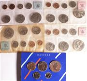 Sale 9015 - Lot 17 - Set of five NZ Mint Sets in Original Plastic Sleeves: 967 (3), 1969 (1) and 1990 (1)
