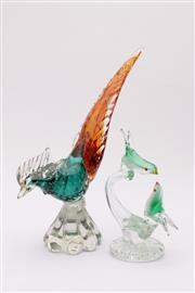 Sale 9035 - Lot 9 - A Murano Art Glass Figure of A Bird (H 27cm) Together with A Smaller Example (H 18cm, Some chips and Small Losses to both)