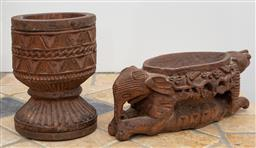 Sale 9191H - Lot 13 - Carved zoomorphic figural bowl, L 29 cm, together with a small vase, H 18 cm