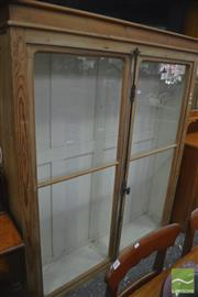 Sale 8317 - Lot 1073 - Antique French Baltic Pine Dresser Top, the two glass panel doors with cast iron locking mechanism & white painted interior (later p...