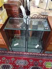 Sale 8554 - Lot 1097 - Pair of Metal Side Tables with Glass Top