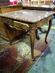 Sale 8634 - Lot 1078 - Louis XV Style Beech Square Occasional Table, with reddish-brown marble top, the apron carved with shells & on cabriole legs