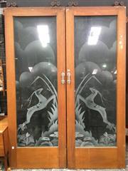 Sale 8643 - Lot 1039 - Pair of Art Deco Etched Glass Sliding Doors with original handles (219 x 76cm)
