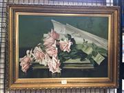 Sale 8726 - Lot 2014 - Marie Koupal Lusk (1862 - 1929) Sunny American La France Roses chromolithograph (AF), 40 x 54cm (frame)