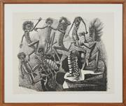 Sale 8753 - Lot 2009 - Keith Looby (1940 - ) - History of Australia Murderous Fights 59.5 x 74cm