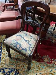 Sale 8792 - Lot 1074 - Good Set of Six Early Victorian Mahogany Dining Chairs, the balloon backs with carved rails, floral drop in seats & on faceted turne...