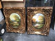 Sale 8836 - Lot 2075 - Pair of Landscape Paintings in ornate gilt frames