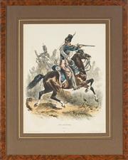 Sale 8838A - Lot 5131 - Francois Hippolyte Lalaisse (1812 - 1884) - Type Militaires, Chasseur 38 x 29cm