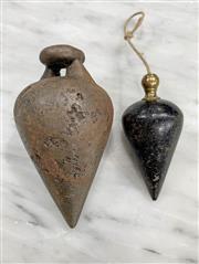 Sale 8951P - Lot 366 - Vintage Cast Iron Plumb Bobs x 2 (largest 10cm)
