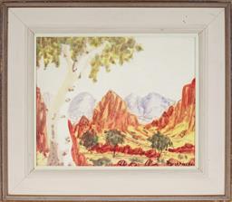 Sale 9101 - Lot 2053A - Trevor Pareroultja (1941 - 1983) - Central Australian Landscape 27 x 33.5 cm (frame: 42 x 49 x 3 cm)