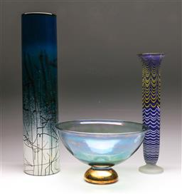 Sale 9131 - Lot 60 - Tall Art Glass Vases (2) with a Lustre Bowl (3) (H:s 47cm, 37cm and dia 26cm)