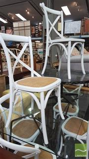 Sale 8390 - Lot 1517 - Set of 6 White Cross-Back Dining Chairs