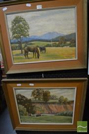 Sale 8458 - Lot 2035 - A pair of original landscape paintings by W Littlejohn, oil on canvas board, each signed lower, various sizes/frames