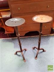 Sale 8480 - Lot 1067 - Pair of Metal Candle Sticks