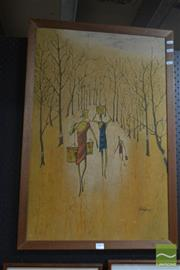 Sale 8525 - Lot 2047 - Untitled Framed Work Trio Carrying Buckets Through Trees Signed Lower Right