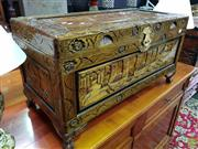 Sale 8570 - Lot 1024 - Heavily Carved Oriental Style Lift Top Trunk
