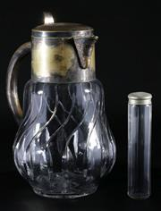 Sale 9003G - Lot 649 - A Cutglass and Silver Plated Claret Jug (H 28cm) Together with A Scent Bottle