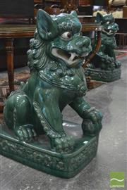 Sale 8335 - Lot 1042 - Pair of Large Ceramic Dogs of Fo, in green & white glaze