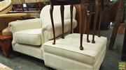 Sale 8398 - Lot 1094 - Oversized Linen Armchair and Footstool