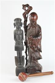 Sale 8429 - Lot 72 - Chinese Carved Timber Figure of a Man, Another Figure & a Single Handled Cricket Ball