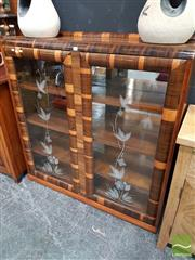 Sale 8480 - Lot 1013 - Art Deco Display Cabinet with Etched Panel Doors