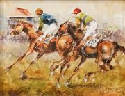 Sale 8583 - Lot 544 - Patrick Kilvington (1922 - 1990) - The Victory Stretch, 1989 19.5 x 24.5cm