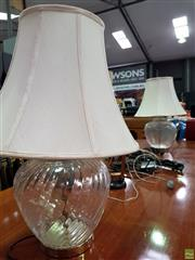 Sale 8580 - Lot 1039 - Glass Table Lamps x 2