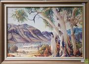 Sale 8595 - Lot 2008 - Albert Namatjira - Central Australian Landscape, decorative print, 48 x 68cn -