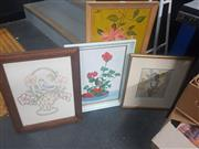 Sale 8833 - Lot 2094 - Group of Assorted Artworks incl. Still Life Paintings, Etching and Embroidery (4)