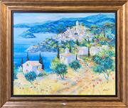 Sale 8961 - Lot 2076 - A giclee depicting a European Coastal Town, 77 x 92cm