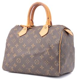 Sale 9149 - Lot 358 - A LOUIS VUITTON SPEEDY 25 BAG; coated canvas with signature monogram, tan leather rolled double handles and trimming, brass tone pad...