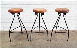 Sale 9137 - Lot 1033 - Set of three metal based bar stools (h:76cm)