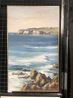 Sale 9155 - Lot 2019 - Allan Fizzell Coastal Seascape oil -