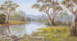 Sale 9191A - Lot 5025 - JOHN F NORTON (1875 - 1940) River with Gums oil 24 x 45 cm (frame: 39 x 60 x 2 cm) signed